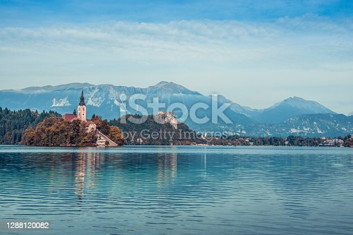 Beautiful Lake Bled And Island, A Tourist Attraction In Slovenia