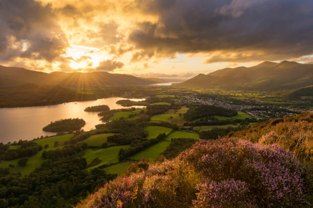 Beautiful Lake District Summer Sunset. stock photo