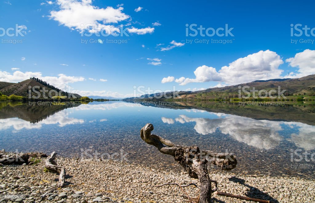 Beautiful Lake Dunstan, Central Otago, South Island, New Zealand. stock photo