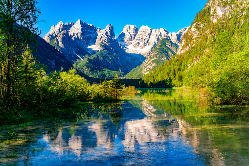 Beautiful Lake Durrensee or Lake Landro and the Dolomites mountain in the morning