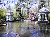 Beautiful Lake Filled With Ducks Of Aranjuez Palace.