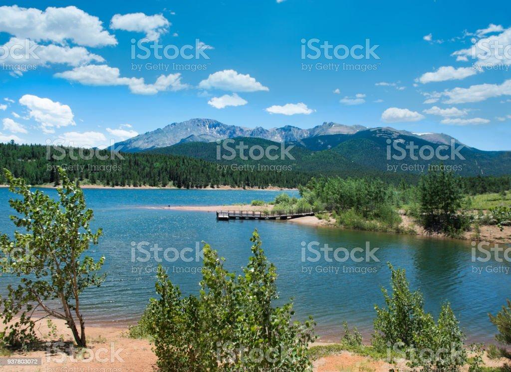 Beautiful lake in Colorado Pikes Peak view. stock photo