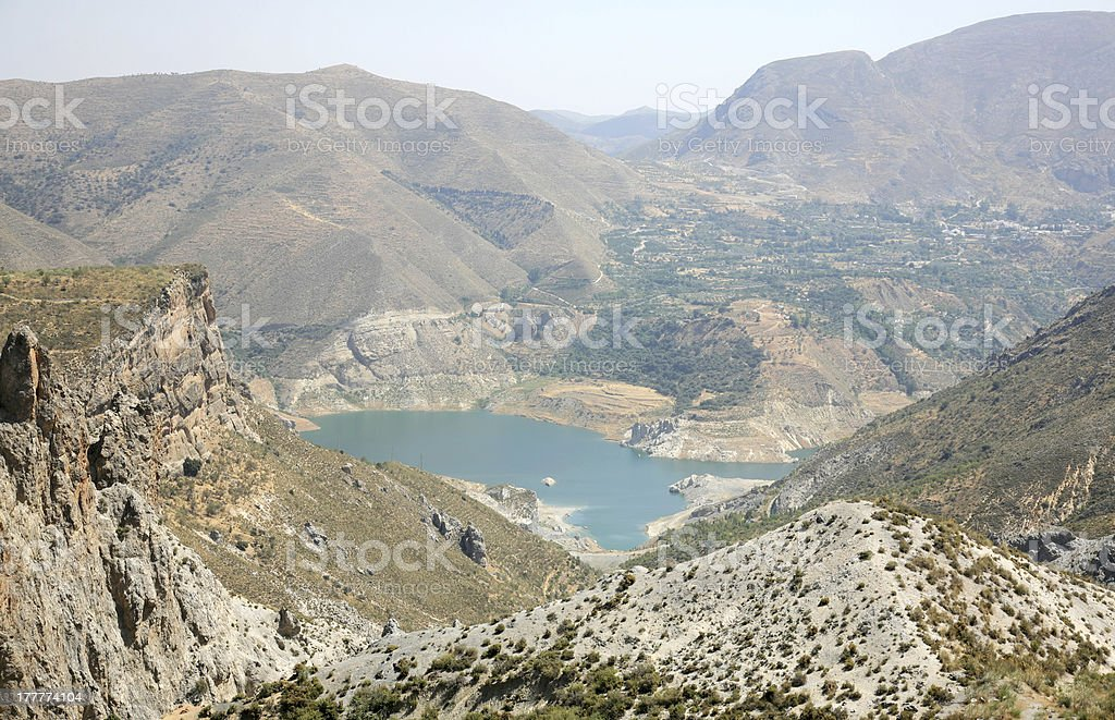 Beautiful lake in mountain Sierra Nevada Spain stock photo