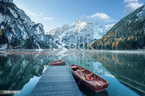 Beautiful lake in the italian alps, Lago di Braies