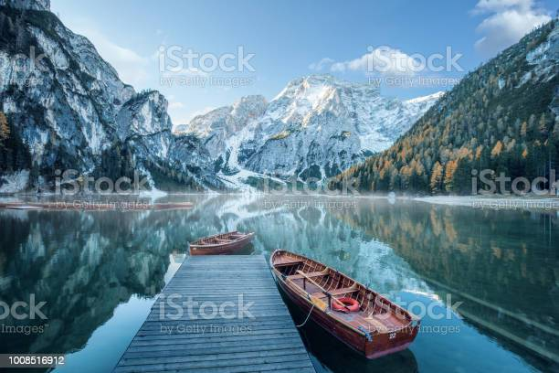 Photo of Beautiful lake in the italian alps, Lago di Braies