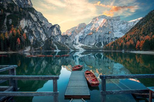 Beautiful lake in the italian alps, Lago di Braies