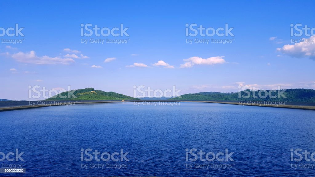 Beautiful lake in the mountains stock photo