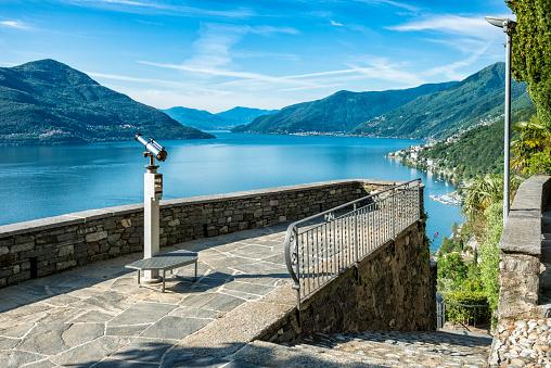 beautiful lake Lago Maggiore between Switzerland and Italy