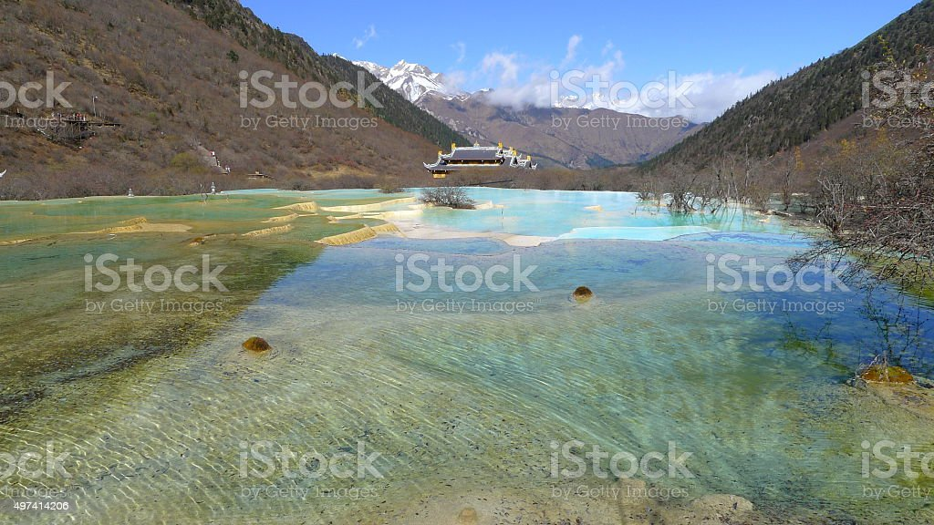 Beautiful lake landscape in Huanglong national park in Sichuan, China stock photo
