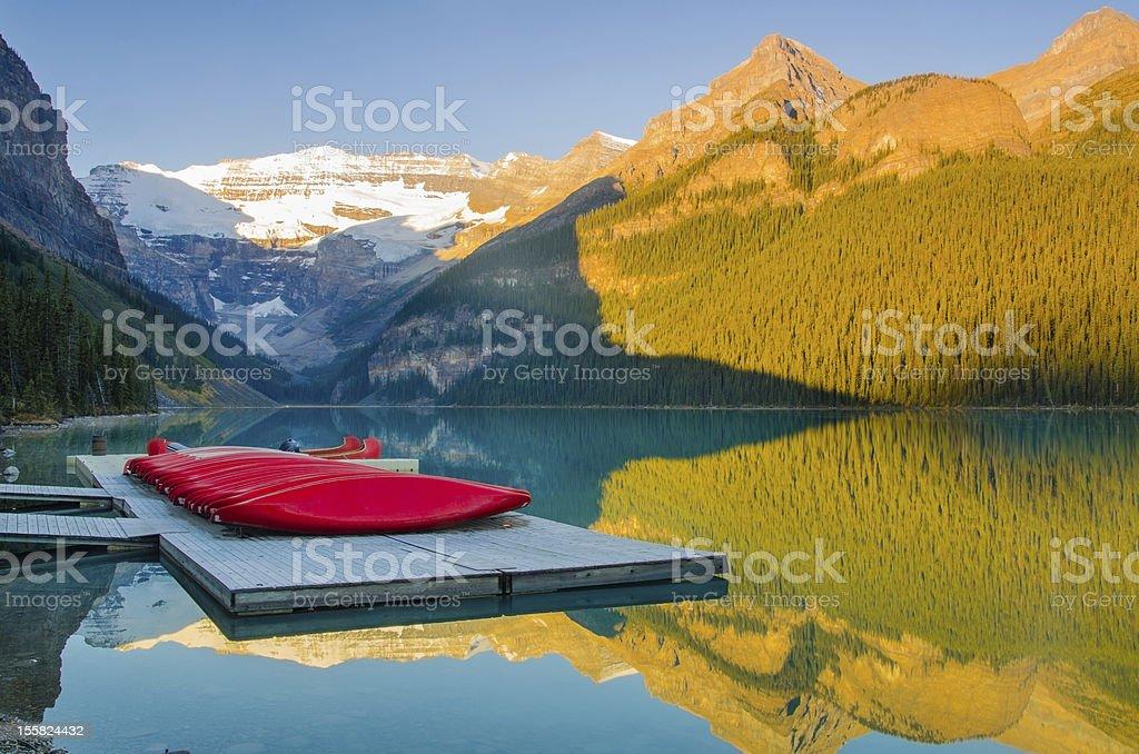 Beautiful Lake Louise at sunrise stock photo