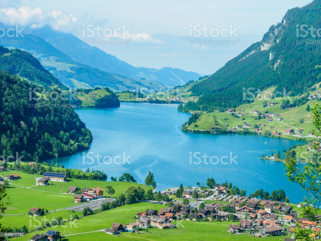 Beautiful lake Lungern and village from Brunig Pass, Switzerland. stock photo