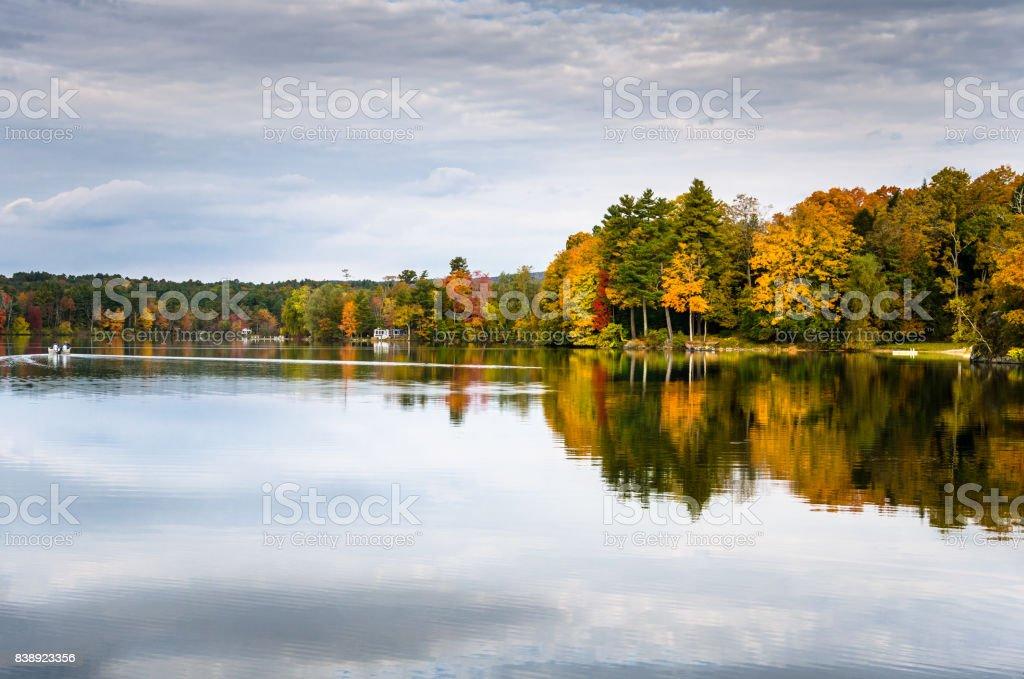 Beautiful Lake on an Autumn Cloudy Day stock photo