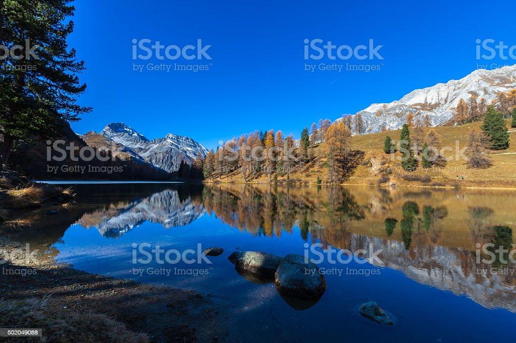 Beautiful Lake Palpuogna and Piz Ela stock photo