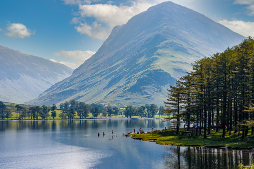 Beautiful lake of Buttermere surrounded by green hill in England's Lake District