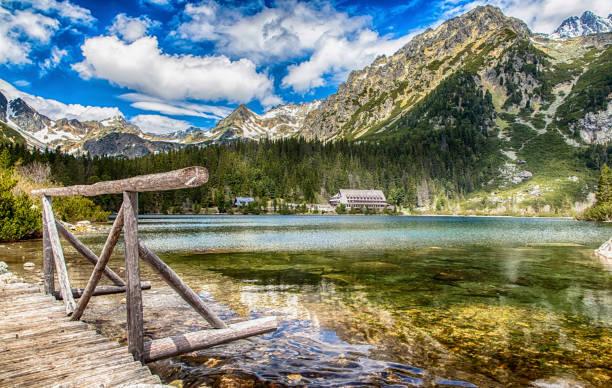 Beautiful lake - tarn Popradske pleso High Tatras mountains, Slovakia stock photo