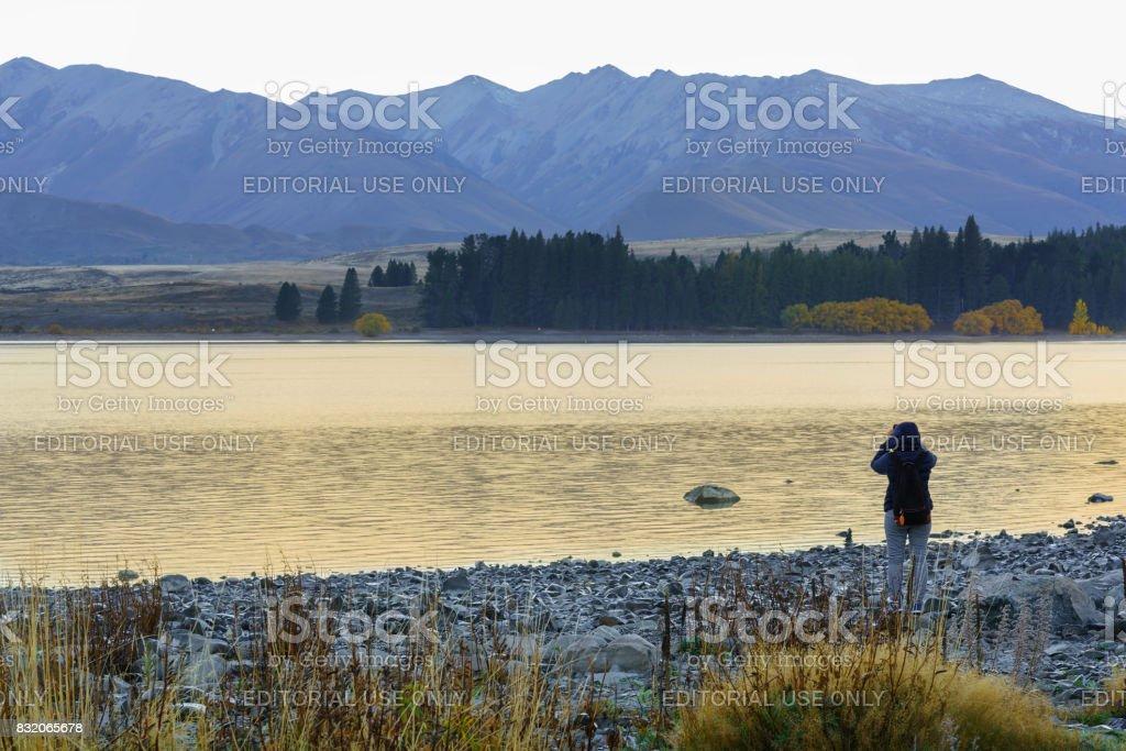 Beautiful Lake Tekapo on Sunday morning in Autumn stock photo