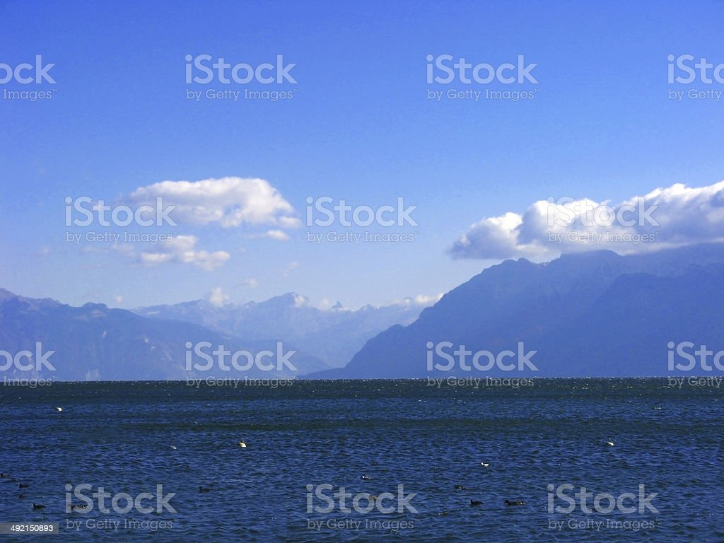 beautiful lake view at Swiss stock photo