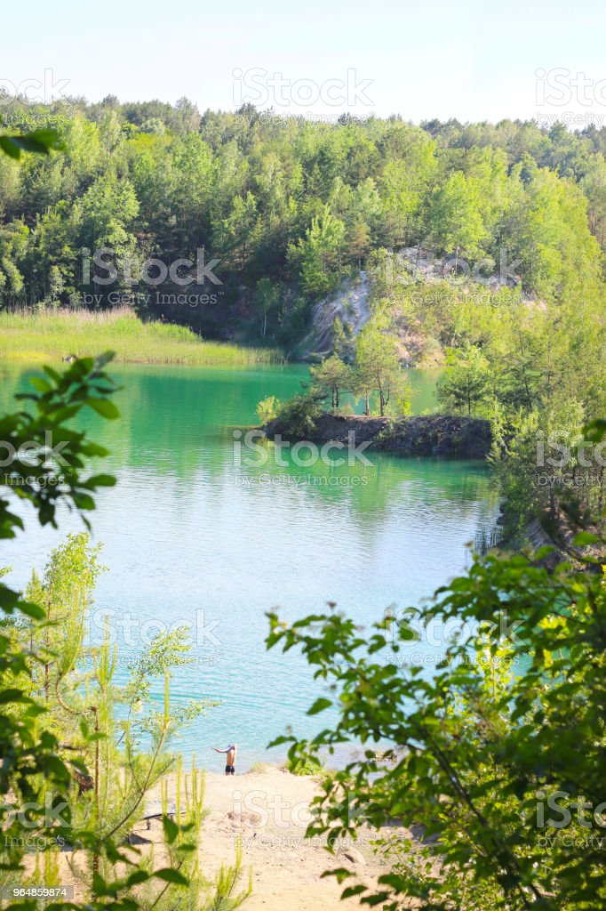 beautiful lake view from above royalty-free stock photo