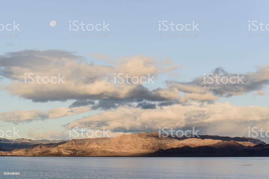 Beautiful lake with fullmoon stock photo