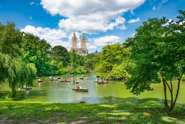 Beautiful lake with raw boats in New York Central Park. stock photo