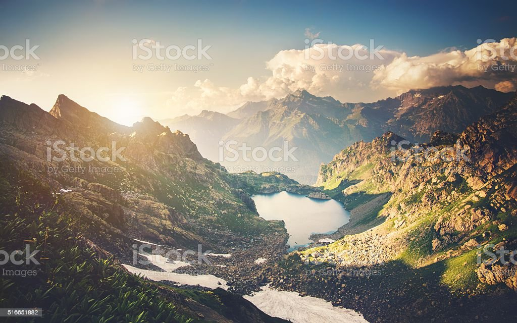 Beautiful Lake with Rocky Mountains Landscape stock photo