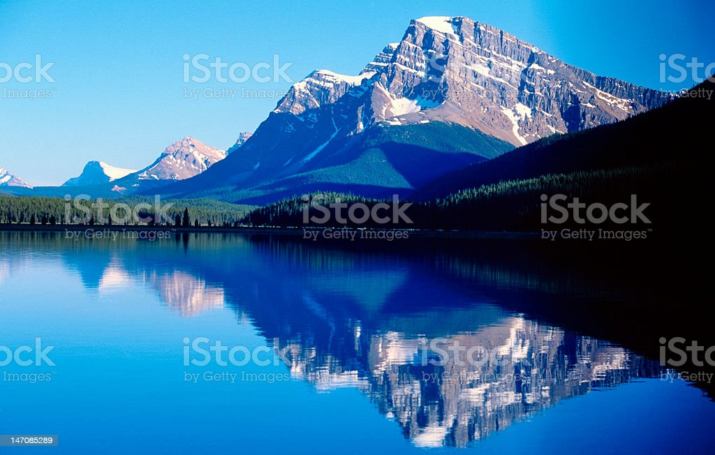 Beautiful lakes side view of a snowy mountain range royalty-free stock photo