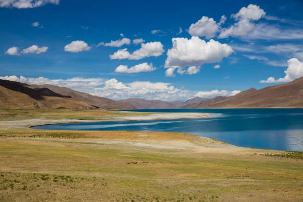 Beautiful lakeside  in Tibetan Plateau stock photo