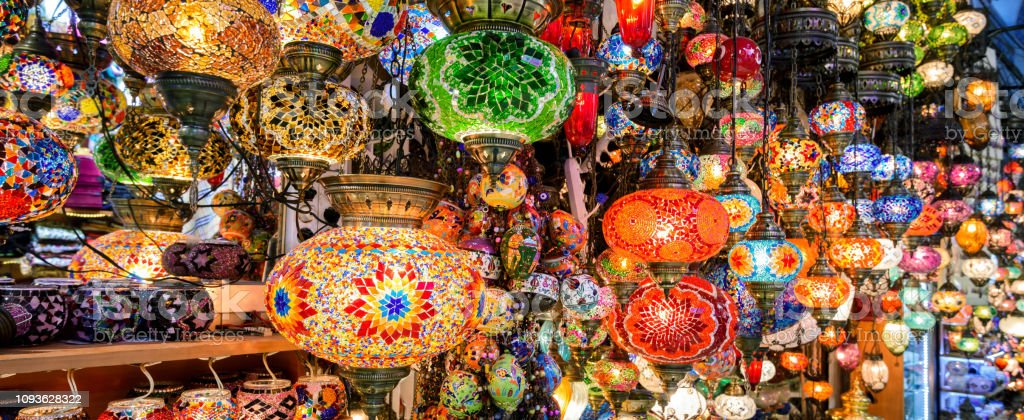 Beautiful lamps in Grand Bazaar, Istanbul, Turkey stock photo