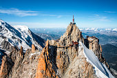 istock Beautiful landscape aerial view of Aiguille du Midi from Mont Blanc massif in french Alps mountains in autumn 1132096829