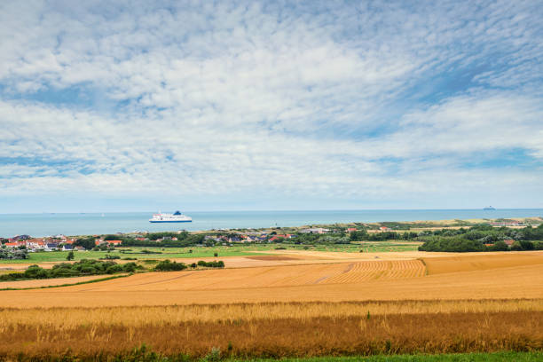 Beautiful landscape after harvest ingesting on the coast in northern France beautiful landscape of the Hauts-de-France coast hauts de france stock pictures, royalty-free photos & images