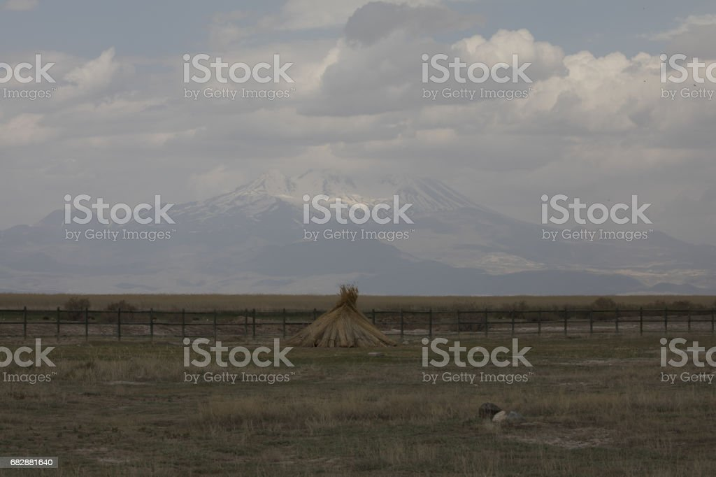 Beautiful landscape and Sultanmarshes (bird paradise) next to erciyes mountain, Kayseri stock photo