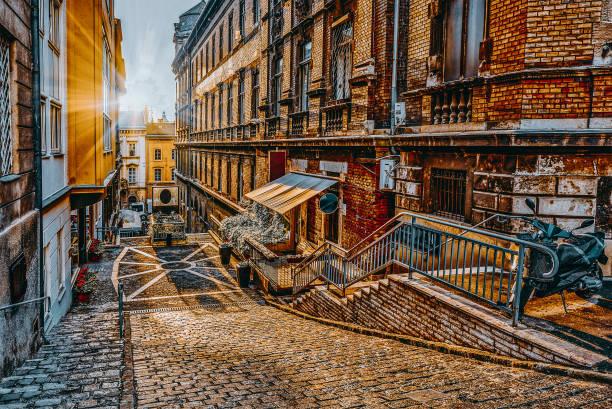 Budapeşte, sokaklar, binalar güzel manzara ve kentsel görünümü. stok fotoğrafı