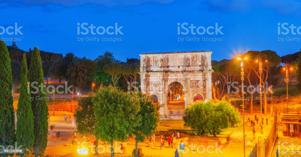 Beautiful landscape  Arch of Constantine at the end of the Palatine hill. stock photo
