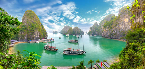 beautiful landscape halong bay view from adove the bo hon island. halong bay, vietnam - rocky coastline stock pictures, royalty-free photos & images