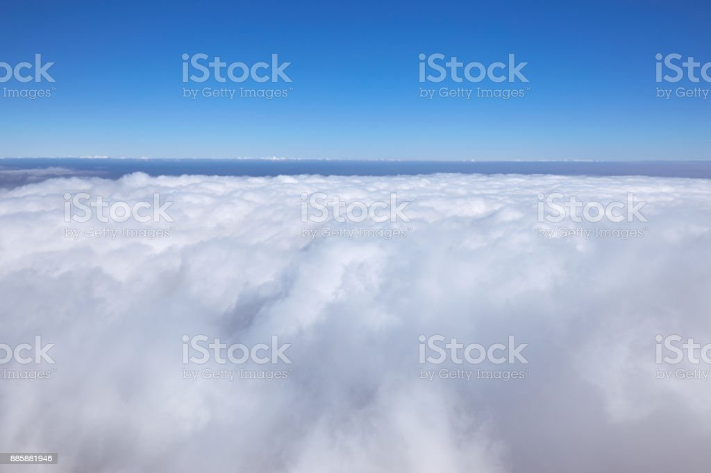 A beautiful landscape high in the mountains with clouds in the afternoon. stock photo