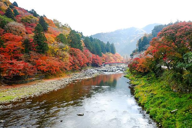 Beautiful landscape in autumn at Korankei, Japan stock photo