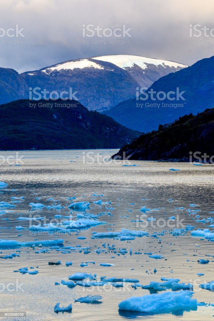 Beautiful landscape in El Brujo in Asia Fjord, Southern Patagonia, Chile stock photo