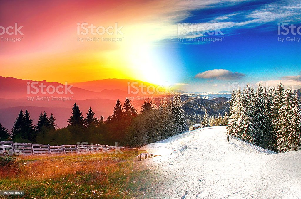Beautiful landscape in four seasons stock photo