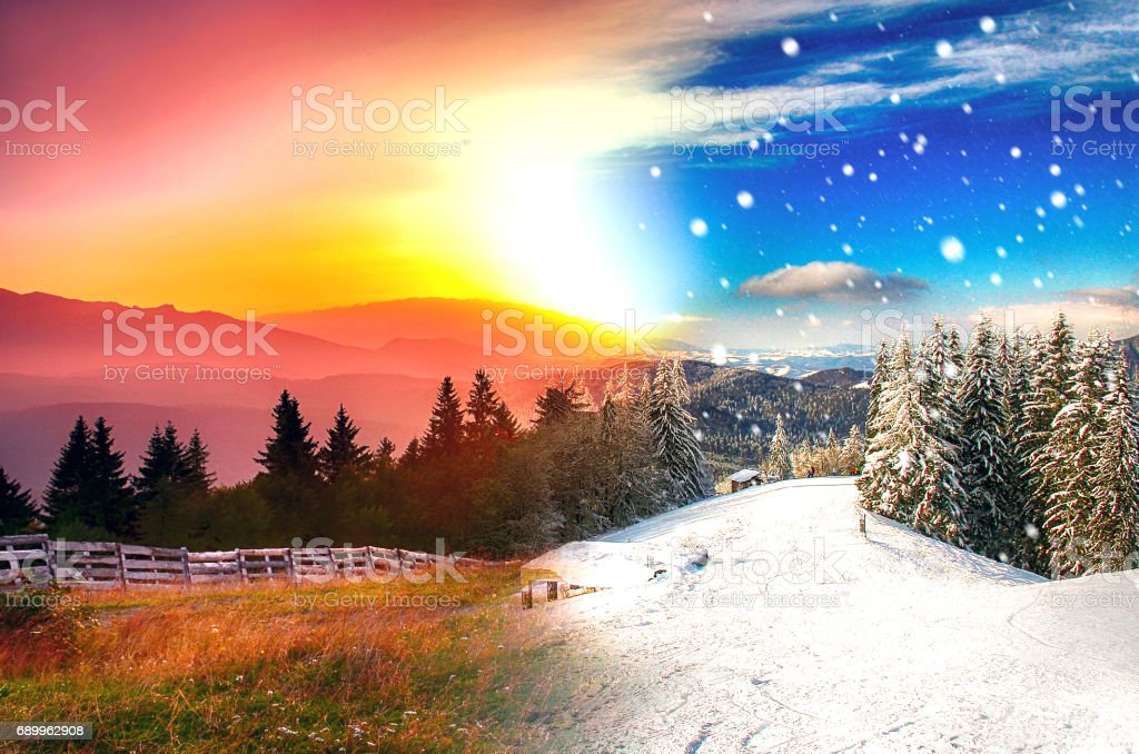 Beautiful landscape in four seasons Predeal Romania stock photo