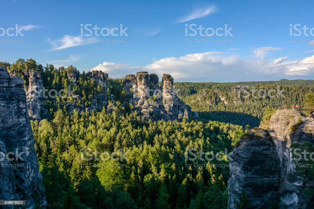 Beautiful landscape in Germany, Saxon Switzerland national park, Saxony stock photo
