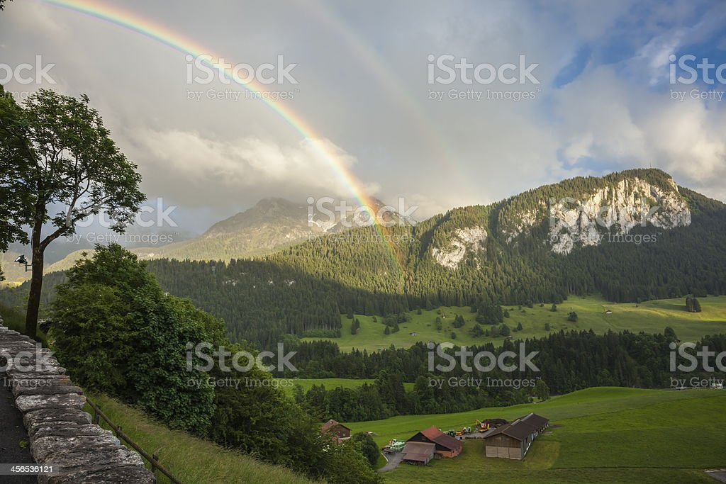 Beautiful landscape in Gstaad, Switzerland stock photo