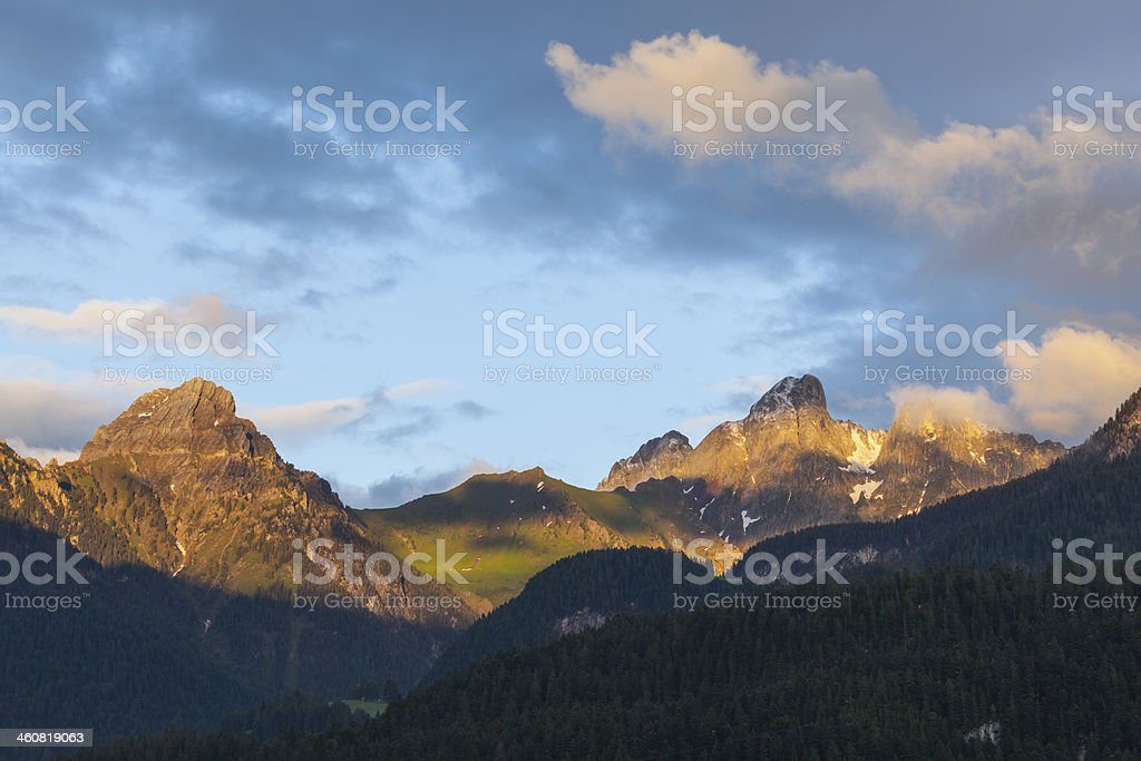 Beautiful landscape in Gsteig bei Gstaad, Swiss Alps stock photo