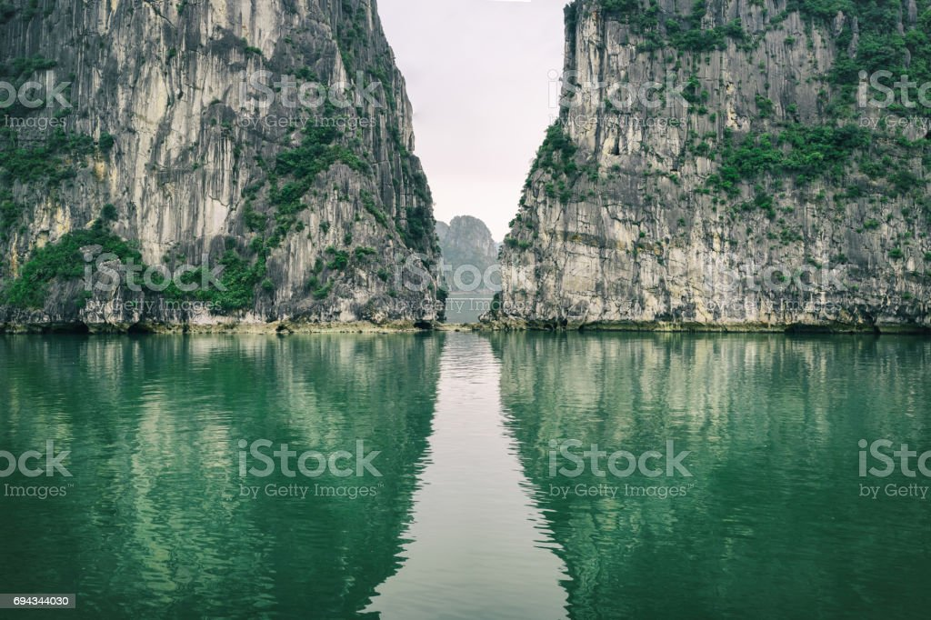 Beautiful landscape in Ha long Bay stock photo