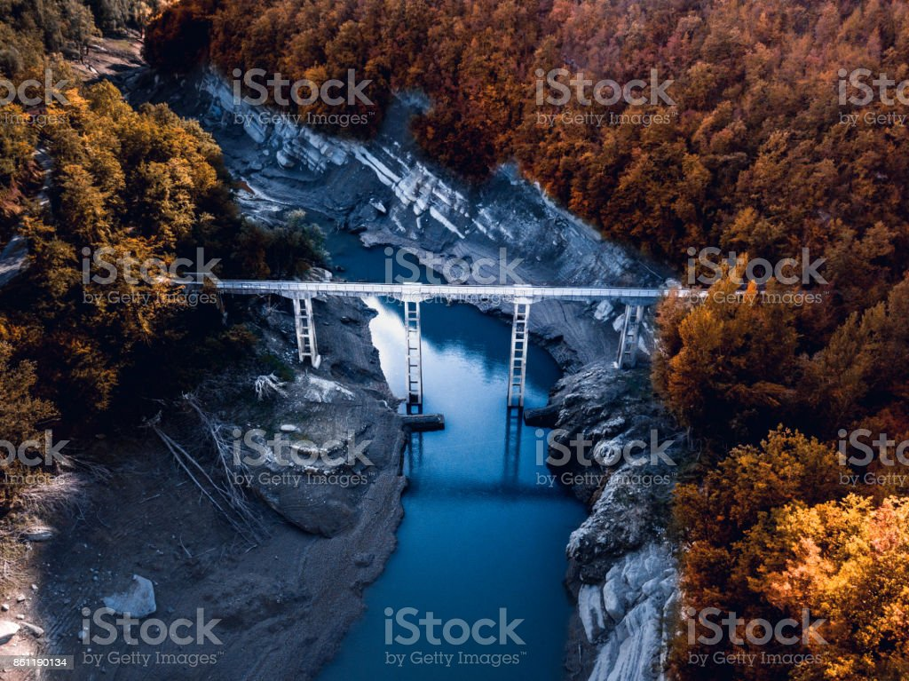 Beautiful landscape in mountains over a lake stock photo