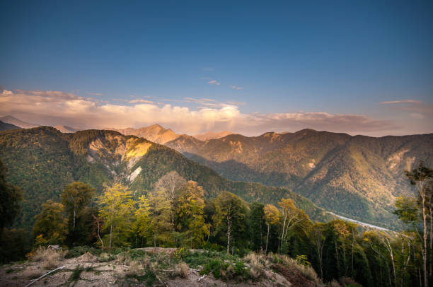 Beautiful landscape in the mountains with the sun at dawn. Mountains at the sunset time. Azerbaijan Caucasus Mountains. Nobody – zdjęcie