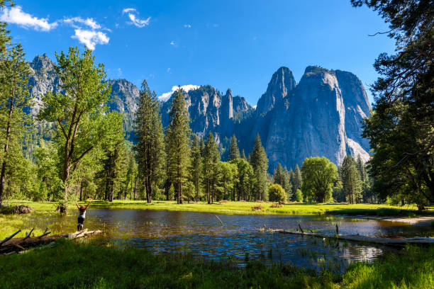 beautiful landscape in yosemite national park, california, usa - granite rock stock photos and pictures