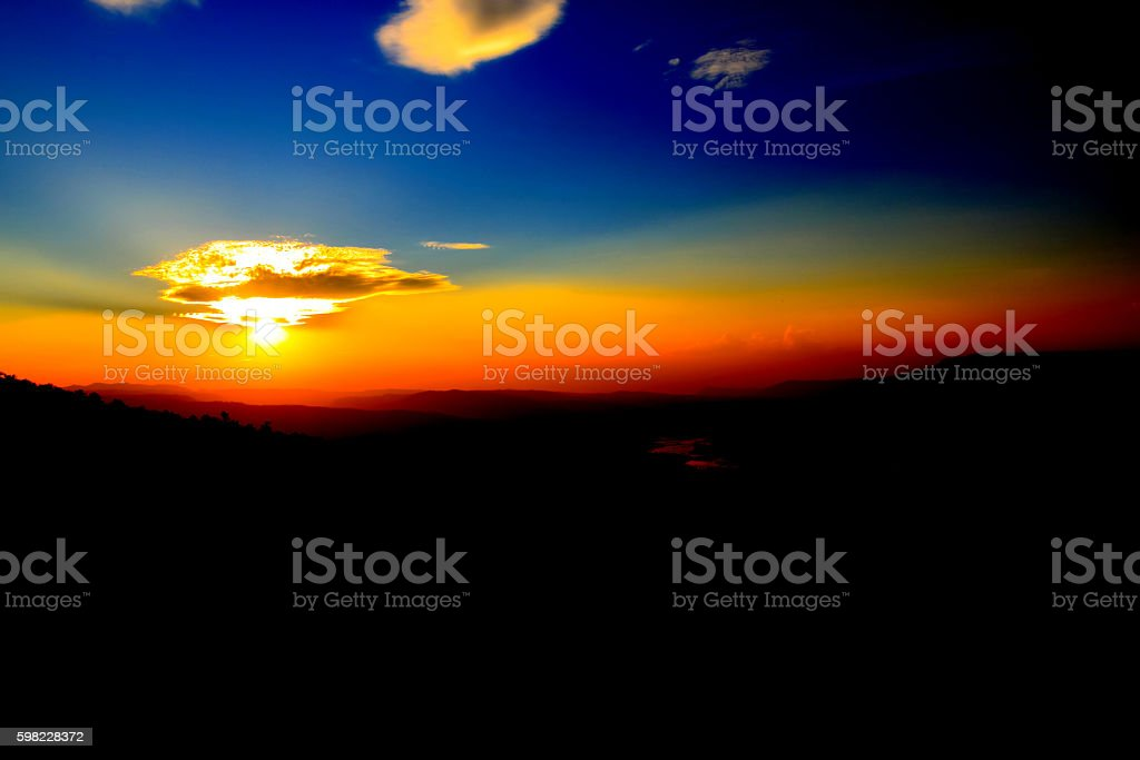 Beautiful landscape Mountain and sunset at north of Thailand,Fuji of Thailand foto royalty-free
