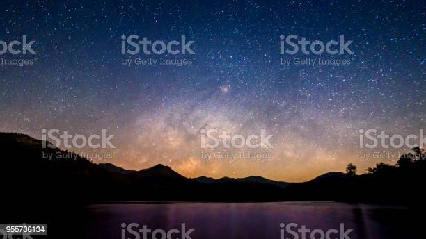 Photo of Beautiful landscape mountains and lake in the night with Milky Way background, Chiang mai , Thailand