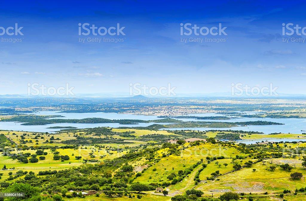 Beautiful landscape near Monsaraz, Alentejo,Portugal stock photo