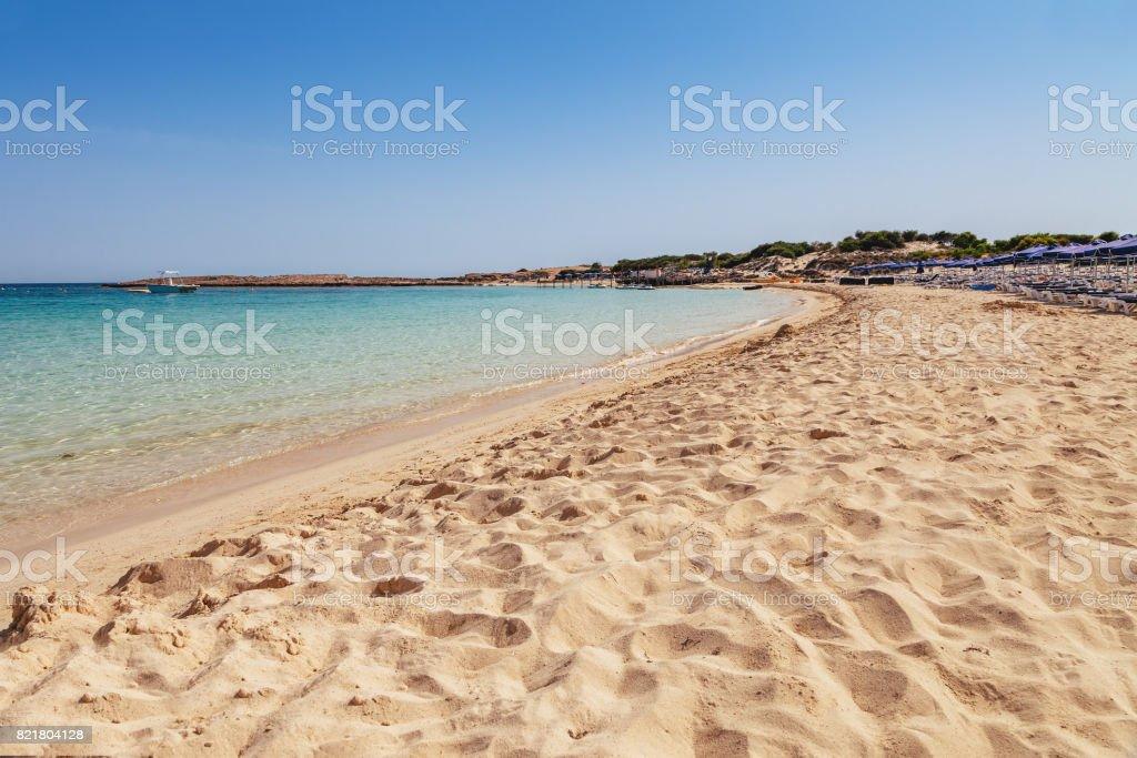 Beautiful landscape near of Nissi beach in Ayia Napa, Cyprus island, Mediterranean Sea. Amazing blue green sea and sunny day. stock photo